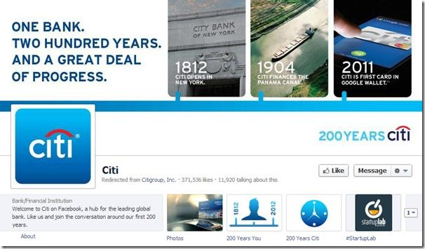 Citibank Citigroup Facebook