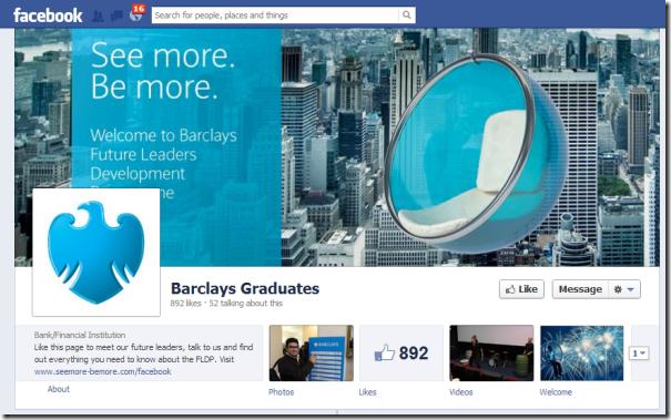 Barclays Facebook Graduate Page